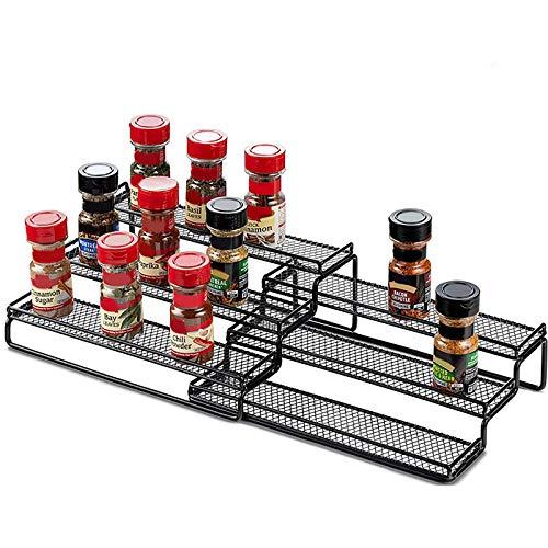 Paquete de 2 organizadores de condimentos de combinación de múltiples capas, 3 niveles ampliables, para gabinete de cocina y encimera