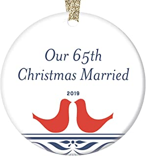 65th Christmas Married Ornament 2019 Wedding Anniversary Milestone Together Couples Partners Keepsake Holiday Tree Decor Unique Mr & Mrs Collectible Porcelain Love Birds Art Circle Ceramic 3