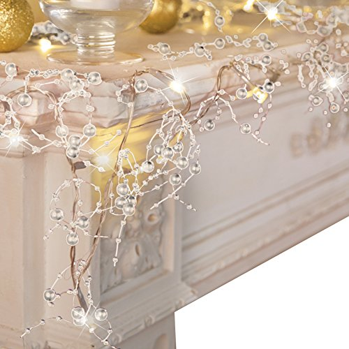 VERY100 Cordless Lighted Berry Beaded Holiday Christmas Decorations Garland 2.5m (White)
