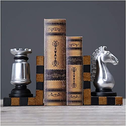 MUZIDP Librería for niños Bookend Chess Sookends Retro Industrial Style Reserve Termina 1pair Libro Tapones for Libros Pesados Vintage Bookend Bookend Decor Aprendizaje Regalo
