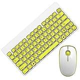Zacheril Teclados Teclado inalámbrico USB Mouse Set de Escritorio del Ordenador portátil Mini Hogar Teclado Ultra-Delgado (Color : White Yellow, Size : 289x140x26.5mm)