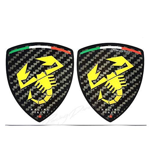 Adesivo per Fiat Abarth in carbonio con logo giallo, accessorio decorativo per auto per 500 595 Punto 124 Spider