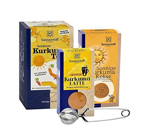 Sonnentor bio Kurkuma Set: Goldener Kurkuma Tee (bio Gewürztee) + Kurkuma Latte (Goldene Milch) + Sonnige Kurkuma Kekse ( bio Dinkelkekse Kurkuma) & Teezange, BIO-AT-301
