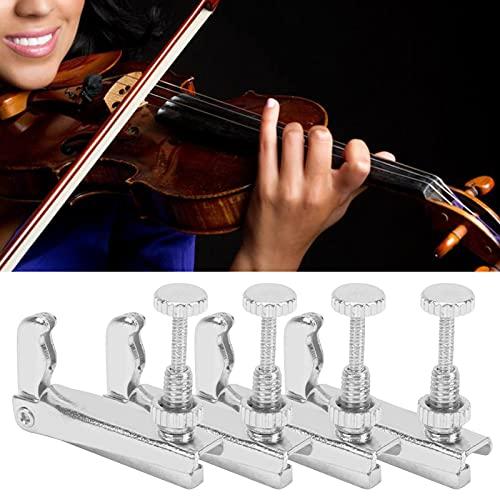 Afinadores De Violín, 3/4‑4/4 Afinadores De Violín, 4 Piezas, Ajustador De Cuerda De Metal Para Violonchelo Para Violín(plata)