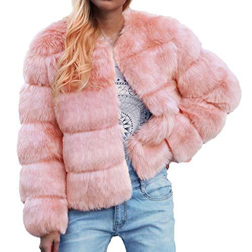 Suter de forro polar suave para mujer, chaqueta Sherpa, chaqueta de forro polar, manga larga, informal, sudaderas Fuzzy de pelo sinttico Rosa. XXXL