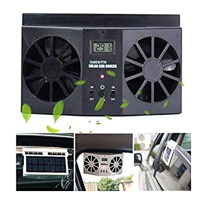 Car Solar Air Circulator Exhaust Fan Car Exhaust Fan to Cool The Car, Solar Car Window Clip-On Exhaust Fan, Eliminate The Peculiar Smell Inside The Car and Can Be Used for General Types of Cars