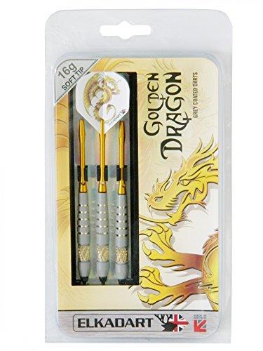 Unbekannt Elkadart Dartpfeile Golden Dragon, 3 Soft-Tip-Pfeile mit Etui, 16 oder 18g, Gewicht:16 g