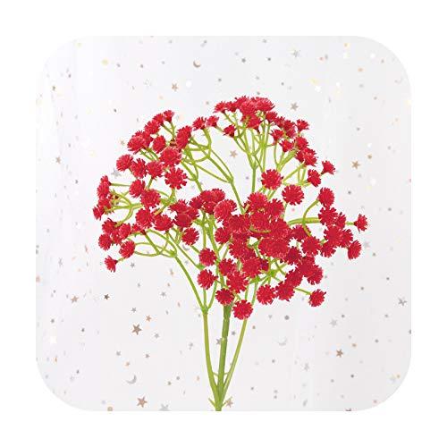 Art Flower Ramo de flores artificiales de 40 cm y 40 cm de largo, diseño de flores artificiales de seda, para bodas, fiestas, decoración del hogar, color rojo