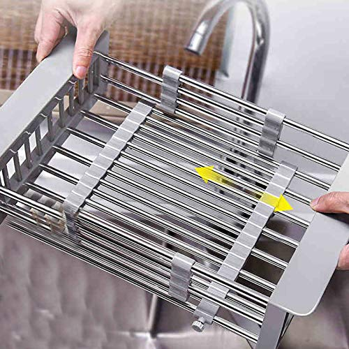 Colander Collapsible Stainless Steel Colander Strainer Over the Sink Food Colanders Strainers with Extendable Handles