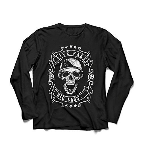 lepni.me Herren T Shirts Lebe schnell - stirb zuletzt, Fahrradermine, Motorradbekleidung, Liebe zum Fahren, tolles Geschenk für Biker (XXX-Large Schwarz Mehrfarben)