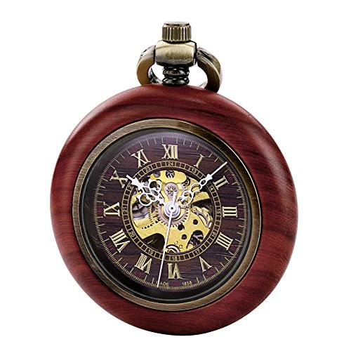 TREEWETO Reloj de bolsillo mecánico automático de madera vintage para hombres y mujeres, esfera de esqueleto steampunk con cadena + caja de regalo