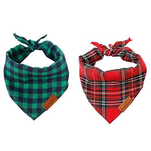 nuluxi Hunde Kopftücher Kostüm Dekoration Waschbar Baumwolle Hund Kopftücher Hund Kariertes Bandana Hundehalstuch Haustier Dreieck Lätzchen für Kleine Mittelgroße Große Hunde und Katze Kostüm Zubehör