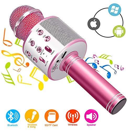 Micrófono Inalámbrico Karaoke Bluetooth con Altavoz, Portátil Karaoke Bluetooth Dispositivo de mano con altavoz para karaoke para niños adultos Casa KTV Party para Android /Iphone/Ipad/PC
