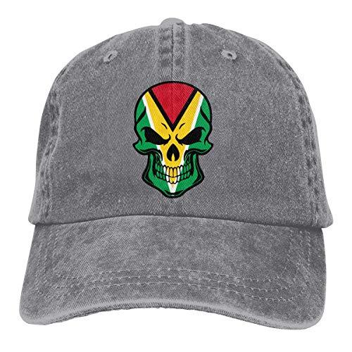 Guyana Flag Skull Unisex Personalizar Cowboy Sun Hat Gorra de béisbol Ajustable