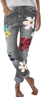 Women's Jeans Pants Floral Print Denim Jeans Harem Pants with Pockets