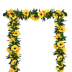 """2 Pack Artificial Sunflower Garland 82.7"""" Silk Sunflower Vine Artificial Flowers with Green Leaves Artificial Garland with Sunflower Heads Wedding Table Party Arch Deco"""
