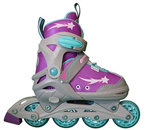 Lenexa Athena Adjustable Inline Skates Kids - Inline Skates for Youth - rollerskates for Kid, Boy, Girl - Comfortable fit - Safety Non-Slip Wheels (Purple/Grey/Blue)