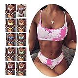 Mujeres Halter Color Block Bikini Bandeau Printing Push Up Bikini Set Dos Piezas Trajes de baño Sexy Swimdress Natación Baño, Pink-S