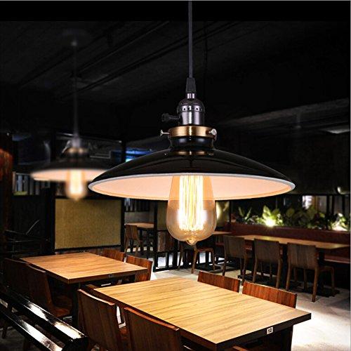 Rétro industriel Edison simplicité lustre vintage plafonnnier suspension avec Abat-jour brillant en métal style de UFO
