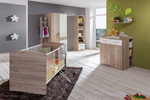 lifestyle4living Babyzimmer, Kinderzimmer, Komplett-Set, Babymöbel, Babybett, Wickelkommode, Babyausstattung, Einrichtung, Komplett, Schrank, weiß, San Remo Eiche NB