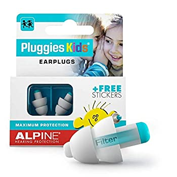Alpine Pluggies Kids Ear Plugs for Small Ear Canals – Noise Cancelling Earplugs for Kids Age 5-12 Multifunctional Hearing Protection for Flying and Swimming - Hypoallergenic Reusable Filter Earplugs