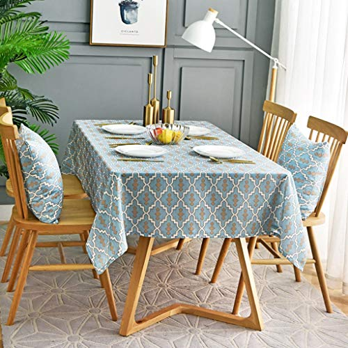 HZTWS Tischdecke europäisch hellblau wasserdicht, ölbeständig und brühsicher, geeignet for Mehrzweck-Tischsets wie rechteckige Konferenztisch...
