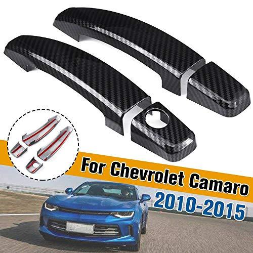 HOWEHORC pour Chevrolet Camaro 2010 2011 2012 2013 2014 2015, 4 pièces en Fibre de Carbone ABS Look poignée de Porte latérale Couvercle Garnitures Style