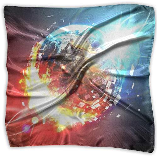 Rojo Fuego Azul Bola de Hielo Dama Impreso Pañuelo Cuadrado Tocado Cuello Bufandas de Satén Abrigo Pañuelo...