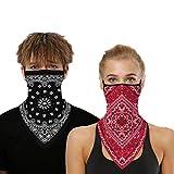 Bandana Gesichtsmaske für Damen/Herren, Unisex, multifunktional, Outdoor-Maske, Schal, Sturmhaube mit Ohrschlaufen, elastisch, atmungsaktiv, waschbar, für Outdoor, Motorrad, 2 Stück