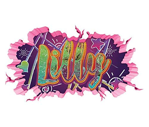 3D Wandtattoo Graffiti Lilly Mädchen Name Wand Aufkleber Wanddurchbruch Girl sticker Wandbild Kinderzimmer 11U132, Wandbild Größe F:ca. 97cmx57cm