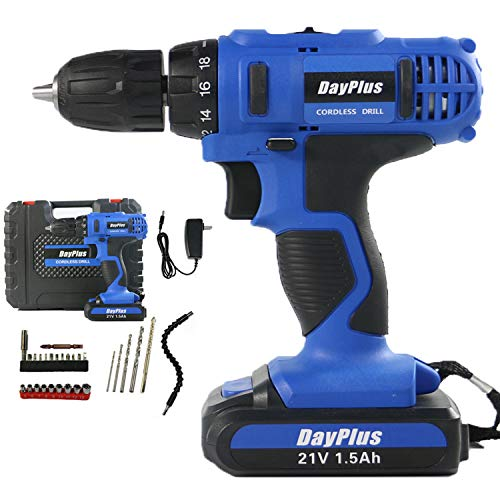 Cordless Drill Driver Kit, 21V-Max Lithium-Ion Electric Screwdriver Complete with 29pc Tool & Accessory Set, Combi Drill, LED Work Light, Variable Speed, 18+1 Torque Settings, Carry Case