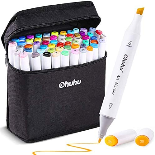 60-color Alcohol Art Markers, Ohuhu Double Tipped Coloring Marker for Kids Adult Coloring, Fine & Chisel Alcohol-based Drawing Markers, 1 Alcohol Marker Blender Included, Great Mother's Day Gift Idea
