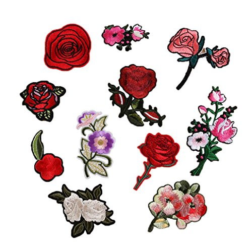 11PC Rose And Flower Floral Collar Sew Patch DIY Embroidered Sew Iron on Patch Chinese Style by Perman