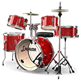 LAGRIMA 16 inch 5-Piece Complete Kids/Junior Drum Set with Adjustable Throne, Stainless Steel Cymbals, Pedals & 2 Drumsticks, Thick Drum Skin & Double Braced Hardware,Sparkles Bright Red