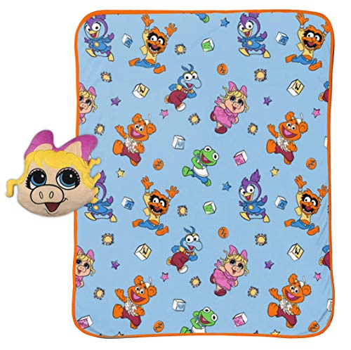 "Jay Franco Disney Muppet Babies Miss Piggy Blocks Plush Pillow and 40"" x 50"" Inch Throw Blanket, Kids Super Soft 2 Piece Nogginz Set (Official Disney Product)"