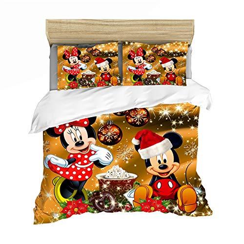 YZHY Disney Mickey Minnie Bettbezug, für Einzelbett, Doppelbett, King-Size-Bett, Disney Frohe Weihnachten, Kinder-Bettwäsche-Set, Mikrofaser-Bettbezug für Jungen und Mädchen, Geschenk (J, 135 x 200)