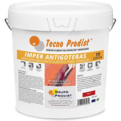 IMPER ANTIGOTERAS de Tecno Prodist - 15 Litros (ROJO) Pintura Impermeabilizante elástica para Terrazas (A Rodillo o brocha, disponible en color rojo o blanco)