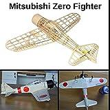 A6M2 Zero Fighter Slow Flyer Kits de Modélisme, Maquette d'avion avec Bois de Balsa, Échelle 1/30, 400 mm d'envergure des ailes, Kit modèle RC, 303 x 400 x 108 xmm, découpé au laser, Poids en vol 45gr