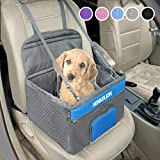 Henkelion Pet Dog Booster Seat, Deluxe Pet Booster Car Seat for Small Dogs Medium Dogs, Reinforce Metal Frame Construction, Portable Waterproof Collapsible Dog Car Carrier with Seat Belt - Gray