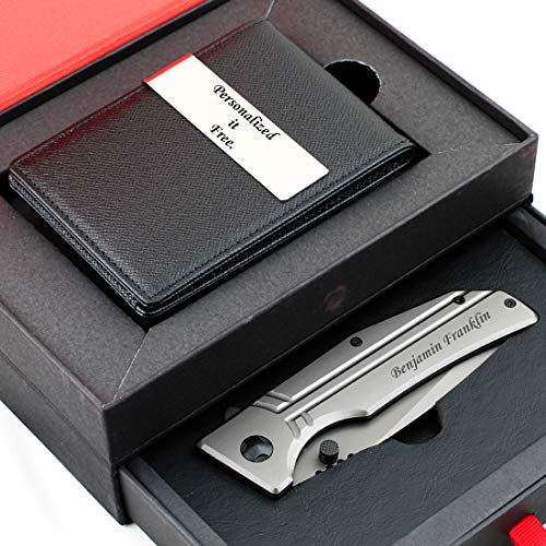 Free Engraving - Personalized Groomsmen Gift, Leather Money Clips, Card Holder, Folding Knife Blade, Stainless Steel Handle, Three Lines Each 20 Characters…