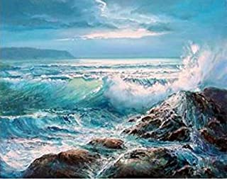 ZHAOSHOP Oil Painting Waves Crashing On Rocks Paint by Numbers Kits for Adults DIY DIY Painting