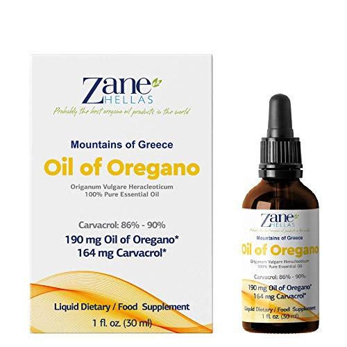Zane Hellas 100% Aceite de orégano sin diluir.Aceite Esencial de orégano Griego Puro.86% Min Carvacrol.164mg de Carvacrol por porción.Probablemente el Mejor Aceite de orégano del Mundo.30ml