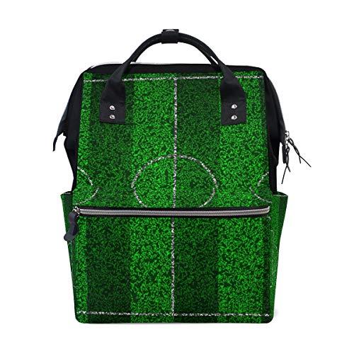 TIZORAX - Mochila para pañales, diseño de rayas de fútbol, gran capacidad, bolsa multifunción, bolsa de pañales de viaje, para el cuidado del bebé