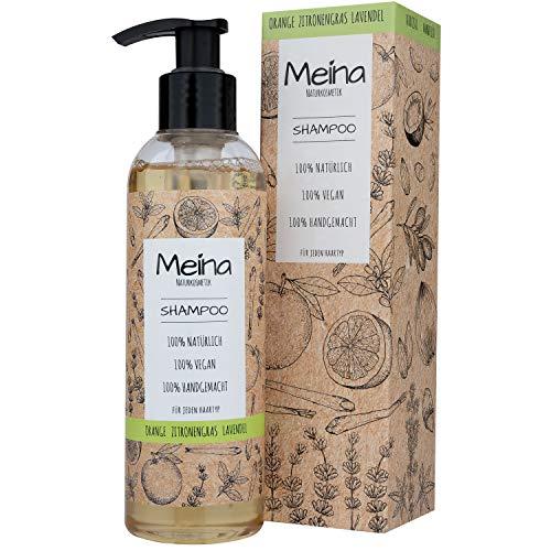 Meina Naturkosmetik - Bio Shampoo mit Orange, Zitronengras und Lavendel - Vegan Haarshampoo ohne Mikroplastik, Silikone, Sulfate und Parabene