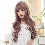 bangs wig Korean fashion ladies long curly hair air bangs wig head cover simulation long scalpblack Dark brown