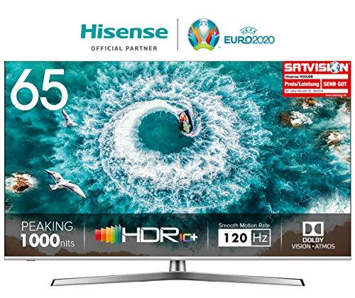 Hisense H65U8B 165 cm (65 Zoll) Fernseher (4K Ultra HD, HDR 1000, DolbyVision, Triple Tuner, Smart-TV, USB-Aufnahmefunktion, WCG)