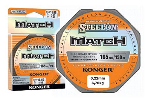 Konger Steelon Match - Sedal de pesca (monofilamento, revestimiento de fluorocarbono, 150 m, 0,14 mm 3 kg)