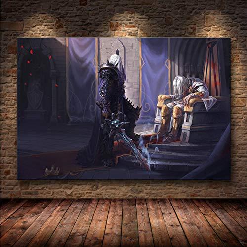 Miss Tian Póster De Juego De World of Warcraft, Arte De Pared, Mapa De World of Warcraft, Pintura En Lienzo, Mural De Decoración para Sala De Estar,50X70Cm Sin Marco,A-1142