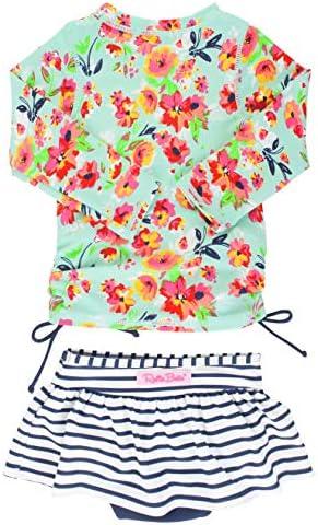 RuffleButts Girls Painted Flowers Long Sleeve Rash Guard Skirted Bikini 4T product image