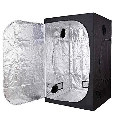 TopoGrow D-Door 60'X60'X78' Indoor Grow Tent Room 600D Mylar High Reflective Non Toxic Hut 5'X5'